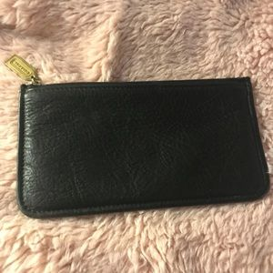 Coach black pebbled leather slim wallet/carryall